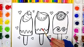 Coloring Fruit Popsciles Painting Pages for Kids to Learn Drawing Coloring and Painting 💜