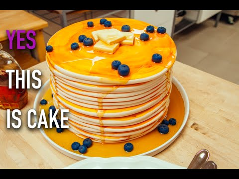 How to Make a Stack of Giant Blueberry Pancakes out of CAKE With Maple Infused Buttercream
