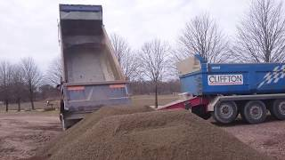 Scania With Trailer Unload Gravel