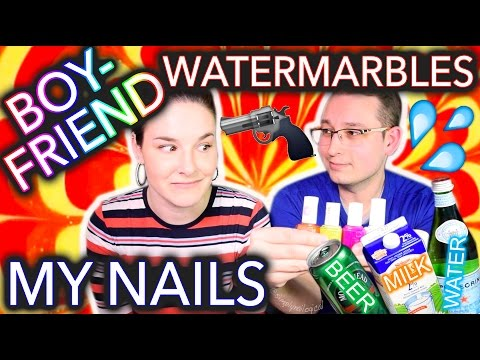 My Boyfriend Watermarbles my Nails WITH BEER