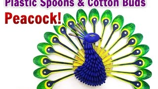 DIY Home Decoration : How to Make a Peacock from Plastic Spoons Crafts | DIY Projects | StylEnrich