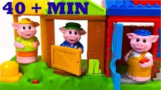 THREE LITTLE PIGS PLAYSET WITH PIGS HOUSES & THE WOLF PEPPA PIG WITH HANSEL AND GRETEL STORY & MORE