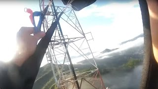 Friday Freakout: Sketchy BASE Jump + Miraculous Landing Through Fog, Across Power Lines & Over Trees