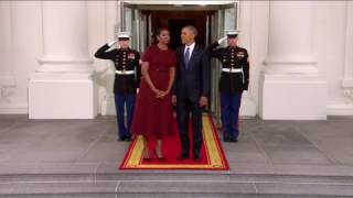لحظة وصول ترامب وزوجته إلى البيت الأبيض