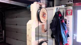Homemade wooden band saw.