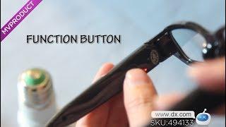 DX:1920 x 1080 HD 1080P Mini Camera Eyewear Video Recorder - Black