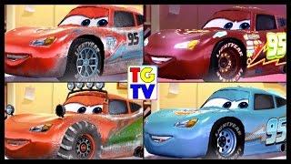 Disney Cars Lightning McQueen 4 Cars 1 Race | Cars Fast as Lightning