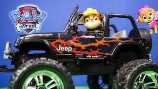 Paw Patrol Rubble's New Jeep a Funny Outdoor Toy Parody
