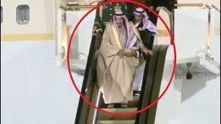 Saudi King forced to walk when golden plane escalator stalls