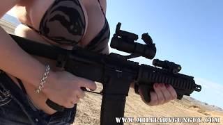 Porn Star Sara Jay Shoots The Baby AR15 Pistol In .223
