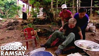 Gordon Ramsay Falls Off A Chair While Making Rice Cakes In Vietnam | Gordon