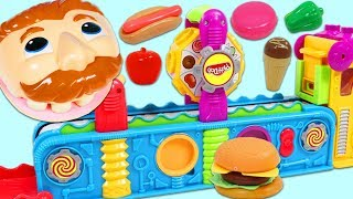 Feeding Mr. Play Doh Head Fruits and Meals Made with the Magic Mega Fun Factory!