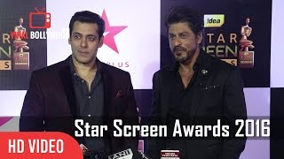 Salman Khan And Shahrukh Khan Together At Star Screen Awards 2016 | Full Video