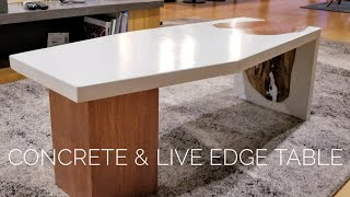 DIY Concrete Coffee Table w/ Live-Edge Inlay || How to Make (w/ GFRC mix)