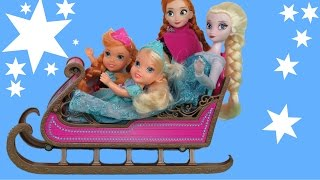 SLEIGHING! SNOW fun ! ELSA and ANNA toddlers play in SNOW and have fun