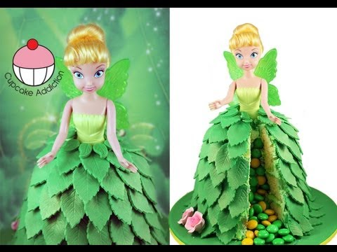 Make a TINKERBELL Fairy Princess SURPRISE PINATA Cake A Cupcake Addiction How To Tutorial