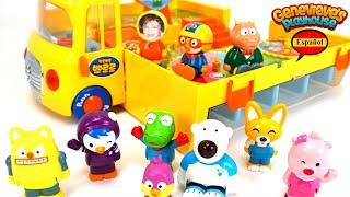 Aprende los Colores - Video Educativo para Niños Juguete Autobus Escolar Pororo the Little Penguin!