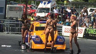 Hot car wash featuring The Fuel Girls