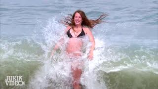 Bikini Model Girl SMACKED By Huge Wave