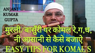 मुरली/बासुँरी पर कोमल रे,ग,ध,नी आसानी से कैसे बजाऐ | Komal Re Ga Dh Ni Playing Easy Tips On Flute
