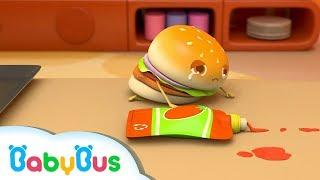 Hamburger Slips down & Cries | Five Naught Hamburgers | Kids Song | BabyBus