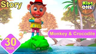 The Monkey and The Crocodile | Panchatantra Stories for Kids | 3D Animated English Stories - KidsOne