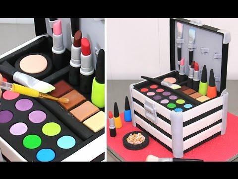 MakeUp Cosmetics Box Cake Torta Caja De Maquillaje by Cakes StepbyStep