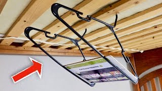 How to Make a Tablet/iPad Holder From Hangers - Life Hack