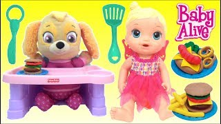 Baby Alive Doll and Grill Kitchen Food Cooking Toys Play, Paw Patrol Skye, Play-Doh Barbecue Playset