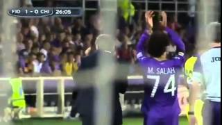شاهد خروج محمد صلاح مصابا وتحية الوداع من جمهور فيورنتينا HD