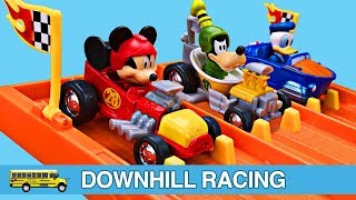 Mickey Mouse Roadster Racers Teaching Colors for Kids Hot Wheels Toys Downhill Racing for Children