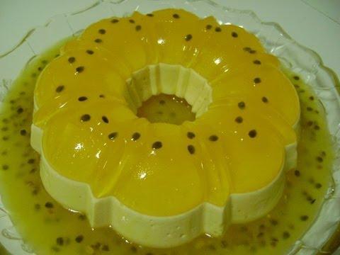 Pudim de gelatina de maracujá