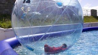 Water Playground Fun Giant Water Walking Balls in the Pool Kids Playtime Family Fun