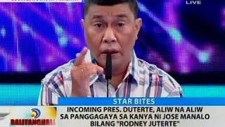 Incoming Pres. Duterte, aliw na aliw sa panggagaya sa kanya ni Jose Manalo bilang