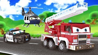 appMink Fire Truck | Police Cars Police Helicopter | go Kart | School bus | Number Learning for kids