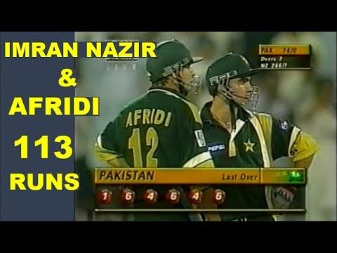 Shahid Afridi & Imran Nazir Fastest Partnership of 113 Runs against New Zealand