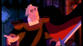 Judge Claude Frollo throws the Queen of Hearts down