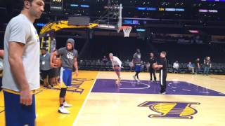 Golden State Warriors' Stephen Curry pregame dribbling routine at Staples Center before vs Lakers