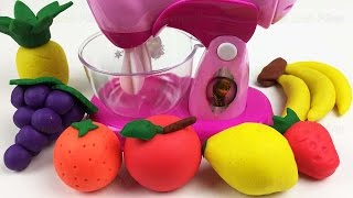 Blend Play Doh Fruits into Clay Slime Fun Learning Colors with Surprise Toys Creative for Kids