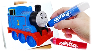 TRAINS FOR CHILDREN VIDEO: Drawing for Kids Train Thomas Play Doh Markers
