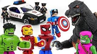 Dinosaur attacked police! Marvel Avengers Minimates Hulk, Spider Man, Iron Man! Go!- DuDuPopTOY