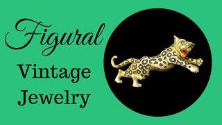 Figural Vintage Jewelry: Jomaz Leopard Brooch Green Glass Eyes by My Classic Jewelry