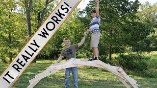 HOW TO MAKE A DA VINCI BRIDGE // Full-size Leonardo Da Vinci bridge