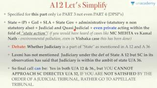 Unacademy Polity Lecture for IAS: Part 3 : Fundamental Rights Article 12