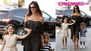 Alessandra Ambrosio & Her Daughter Anja Get Serenaded