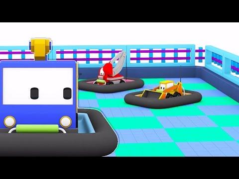 The Bumper Cars Learn with Tiny Trucks Dino th Dinosaur and trucks bulldozer crane excavator