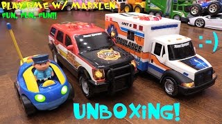 Toy Cars for Toddlers: RC Cartoon Police Car, Motorized Fire Truck and Ambulance Unboxing