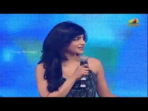 Shruti Haasan Speaking Cute Telugu | Yevadu Movie Audio Launch | Allu Arjun | DSP