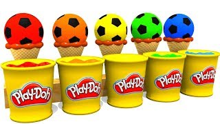 Learn Colors with Ice Cream and Soccer Balls Colors Video for Children and Kids