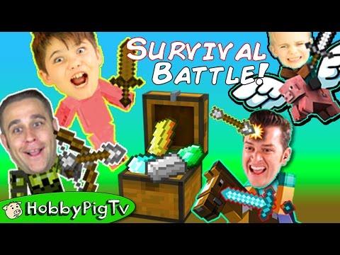 MINECRAFT Battle Game! Who Steals Treasures? Build+Survival Mode, Big Bros Vs. Little HobbyPigTV